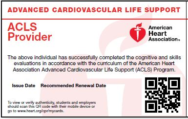 HeartCode ACLS<br>Key & Skills Test Card
