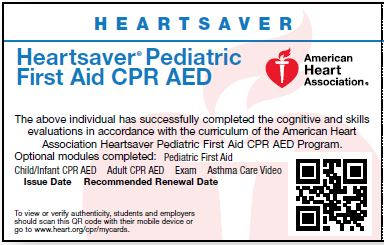 Pediatric First Aid CPR AED<br> Skills Test ONLY Card