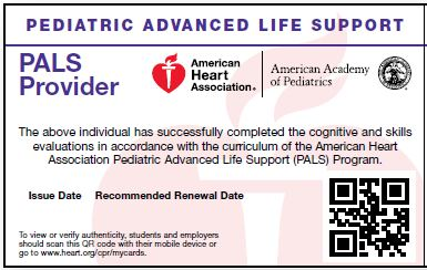 PALS Provider<br>Full Course Card
